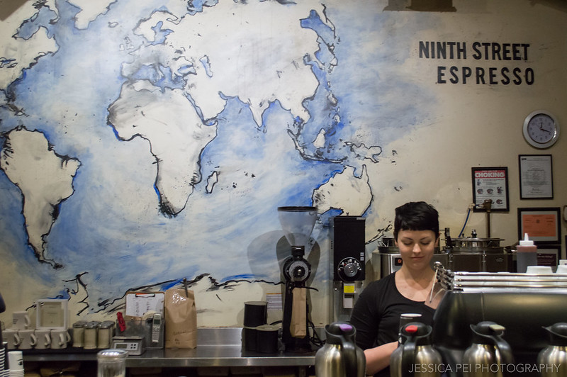 Coffee Barista at Ninth Street Espresso in Chelsea Market New York