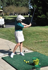 Linda Brooks shows how to hit the ball!