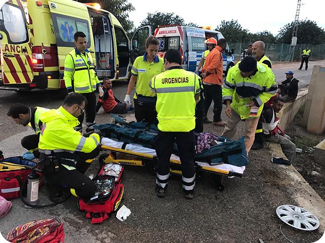 Protección Civil de San Javier atiende a 13 heridos en un accidente de tráfico
