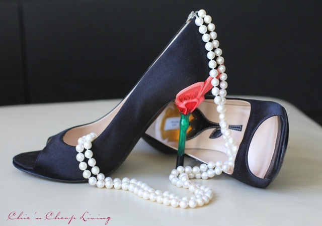 Prada flower heels side and pearls by Chic n Cheap Living