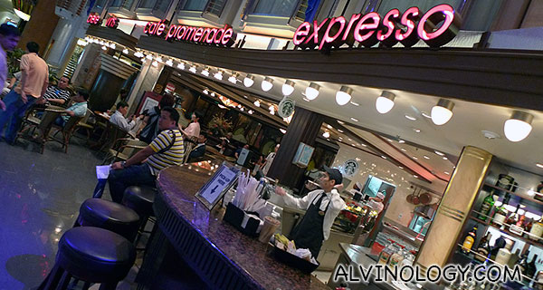Cafe Promenade - there is Ben & Jerry ice cream as well as Starbucks coffee available with top-up charges