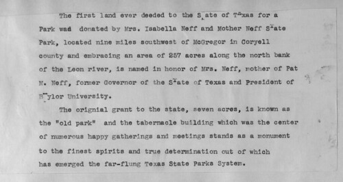 Origin of Texas State Parks, from Mother Neff Scrapbook in the Pat Neff Collection, circa 1930s.