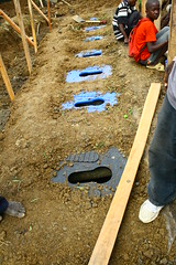 Pit latrines at the refugee camp