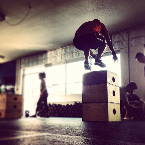 "Elliot cranking out 32"" box jumps in the workout today. #boxjumps #crossfit"