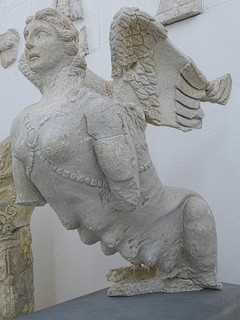 Multi-breasted sphinx tomb guardian from a Roman mausoleum in Orange, France 1st century BCE-1st century CE