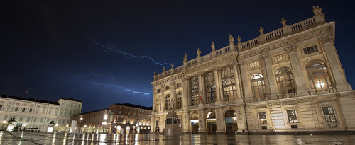 Lighting across the Piazza Castello Turin Italy