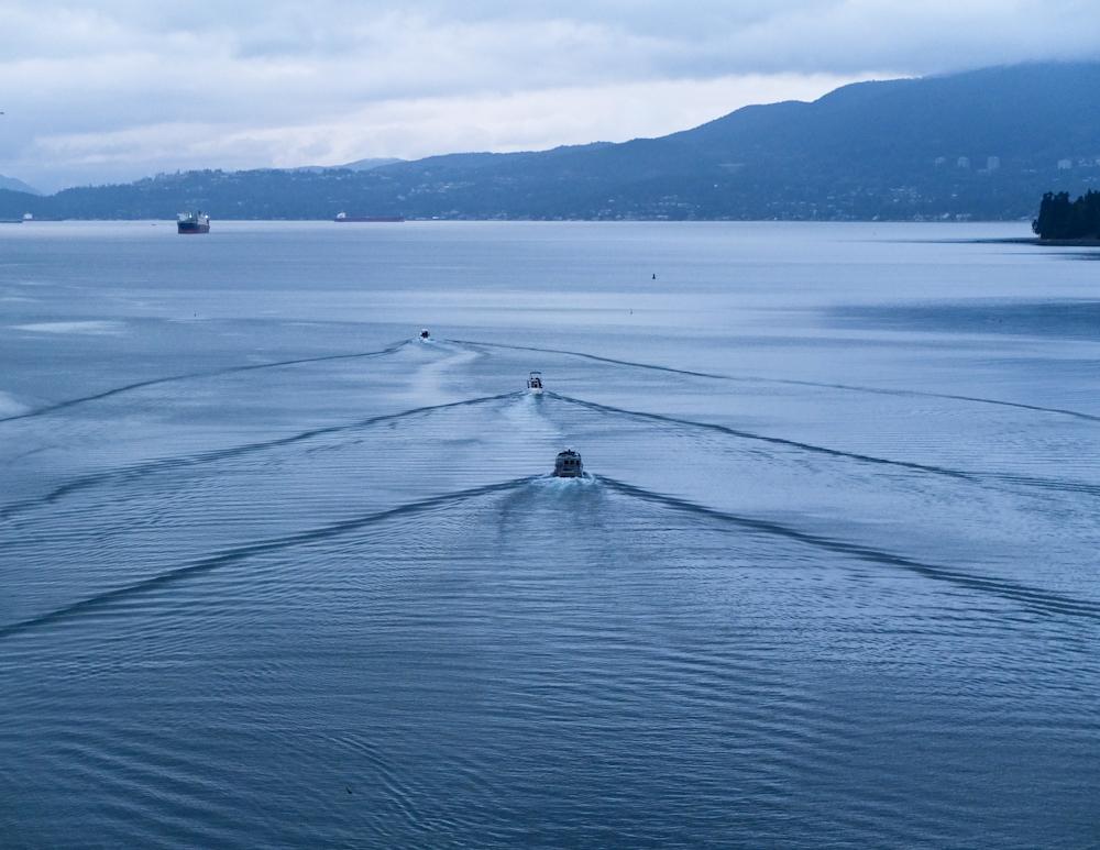 Auslaufende Boote auf der English Bay