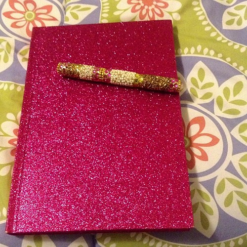 Perfect notebook for writing and other creative posts. #pinkglitter #ilikeshinythings