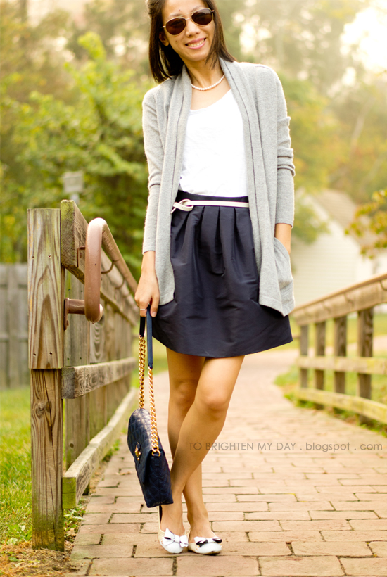 navy full skirt, open cardigan