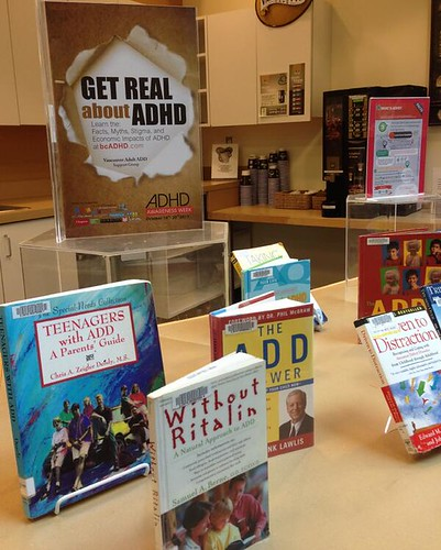 Poirier Library in Coquitlam ADHD Awareness Week book display #1