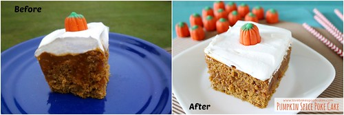 Pumpkin Spice Poke Cake Before and After.
