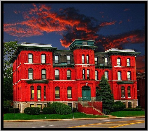sunset red sky house ny newyork building brick home clouds apartment district historic moses syracuse mansion northeast reuse dewitt adaptive nrhp onondagacounty onasill