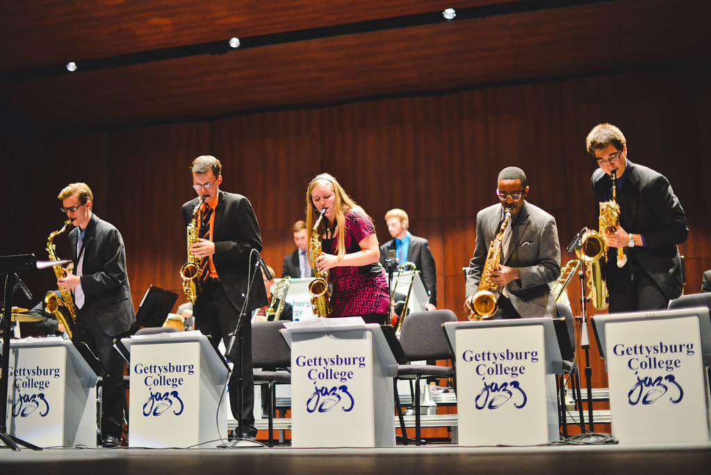 The Jazz Ensemble performs during the Autumn Leaves fall concert at the Majestic Theater.