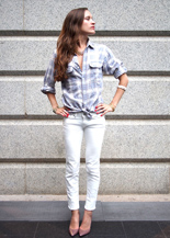white jeans and plaid mens shirt