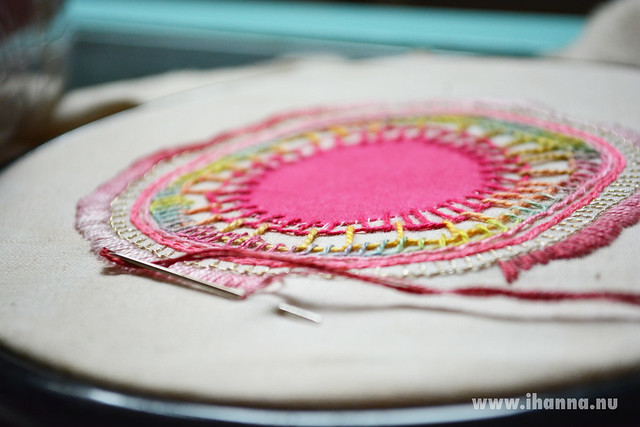 Embroidered mandala beginning