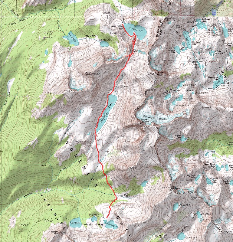 Topographic Map of our second day's hike - Young Lakes to Upper McCabe Lake via Don't Be A Smart Pass