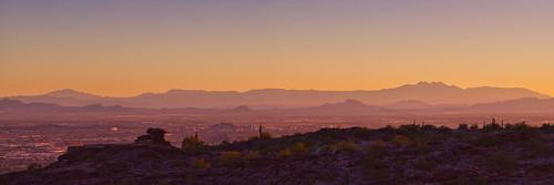 city arizona cactus sky panorama mountains phoenix silhouette skyline cacti sunrise glow horizon hills ridge scottsdale peaks overlook hdr highdynamicrange tempe southmountainpark