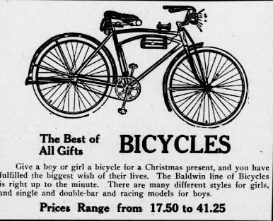1922 Christmas Bike Ad (Detail)