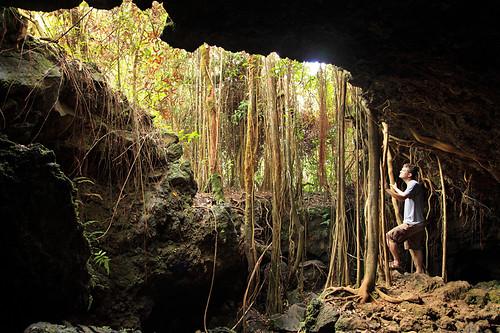 selfportrait underground landscape hawaii exploring maui jungle tropical cave banyan spelunking canon5dii