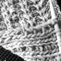 I spent all day yesterday swatching failed 2-color reversible stitch pattern ideas, finally gave up for the day, then at night an idea struck out of nowhere, and it was PERFECT!! You get a b&w secret shot for now, but I can't wait to reveal it sometime so