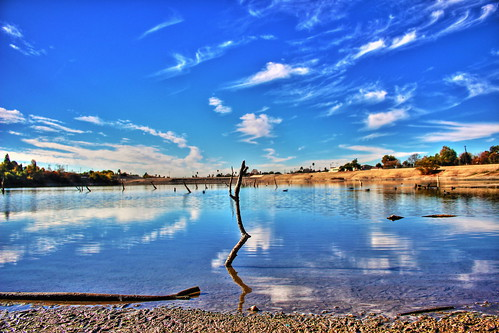 wood blue sky reflection water clouds canon dof reservoir stick hdr arcadia canoneosrebelsl1 erniemelendrez