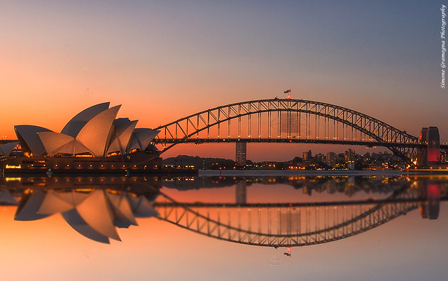 Opera House and Harbour Bridge - Sydney at Sunset