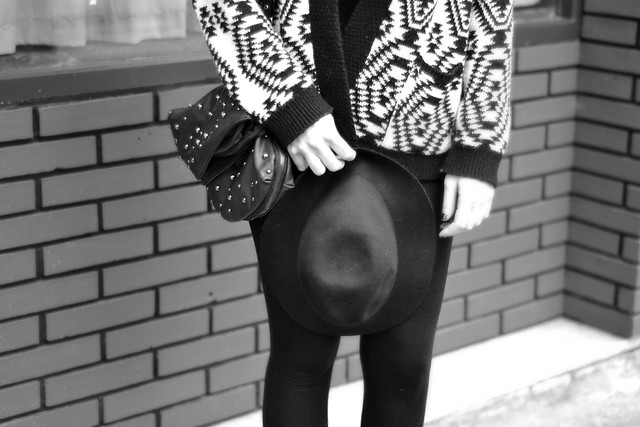 Aztec black and white cardigan