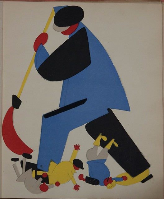 Russian placards, 1917-1922 (Vladimir Lebedev) - A workman sweeping the criminal elements out of the Republic (work conrol)