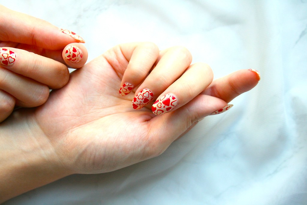 Valetine's day Incoco applique nail art with love hearts