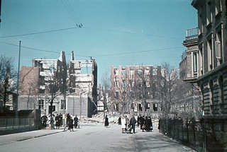 The mistakenly bombed French School and the surrounding neighborhoods. The ruins of the school is viewed from Frederiksberg Alle.