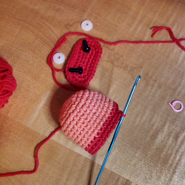 WIP Red yarn pal