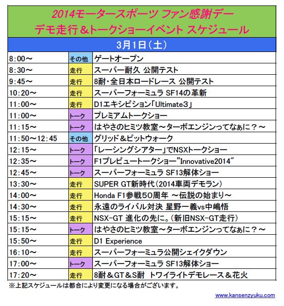 2014鈴鹿ファン感タイムスケジュール(土曜)