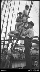 Five crew with rigging on board MERSEY
