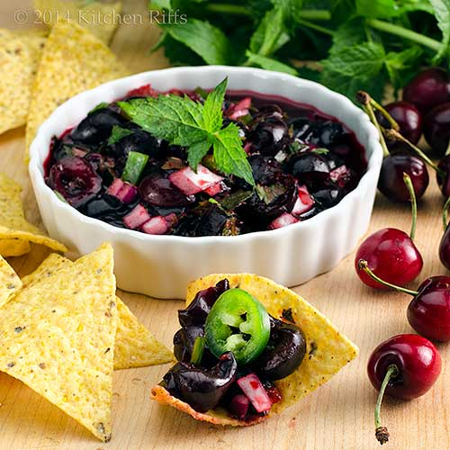 Chipotle Cherry Salsa with tortilla chips