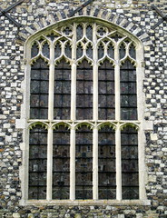 Late Perpendicular tracery (c.1474-80):  The east window, the Chapel of St Nicholas, Gipping, Suffolk, England