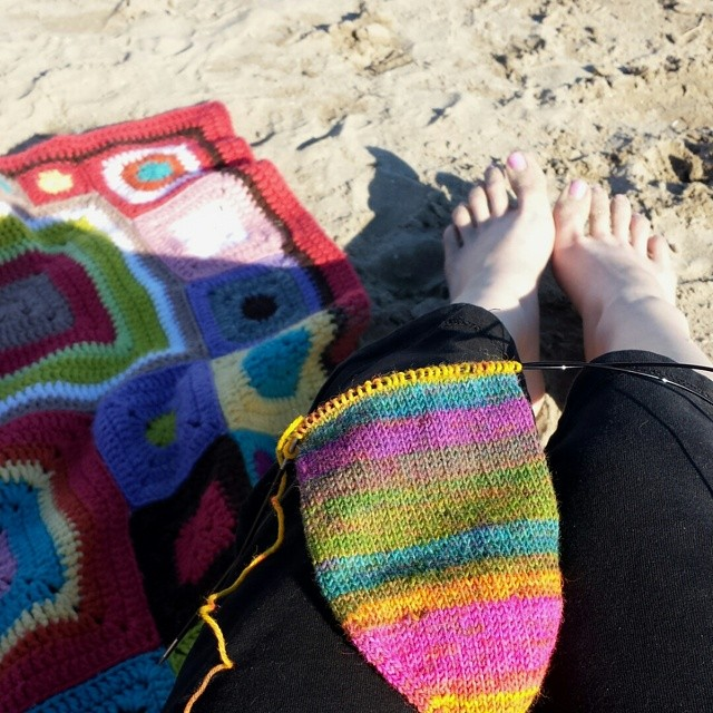 not a water girl, so knitting on the beach!