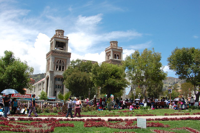 Main Plaza of Huaraz on Easter Sunday
