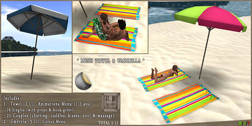NEW ! *RnB* Mesh Towel & Umbrella - Single & Couples - Color Stripesl (c)