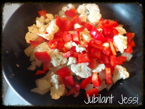 Sauteed peppers and cauliflower.