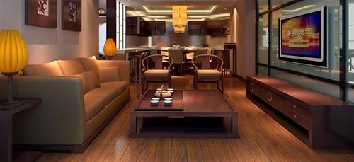 欧式客厅木纹砖铺贴效果图