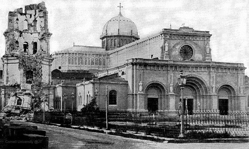 Manila Cathedral damage to bell tower caused by the 1880 earthquake, Intramuros, Manila, Philippines, later half of the 19th Century.