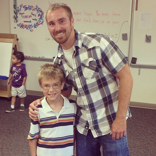 Mr. Perez is Beck's second grade teacher. Beckham you can see is nervous about school please pray for  God to use that anxiety to make him rest more in Christ.