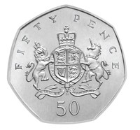 Ironside Royal Arms 50 Pence coin