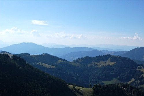 trip family blue trees sky mountains green clouds austria bright hiking sunday sunny views layers graz styria österreich plankogel sommeralm