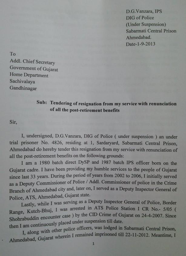 Buffering DG Vanzara writes 10 page resignation