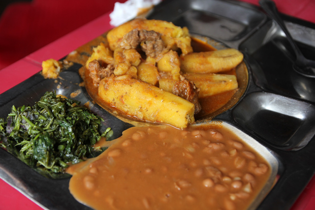 Plantain with meat, beans, and mchicha