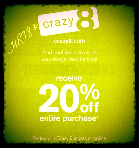 Crazy 8 coupon code