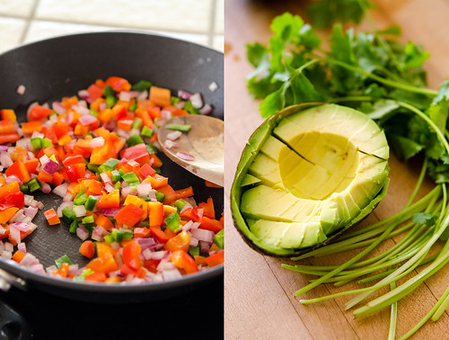 Left pic: sautéing veggies in a pan, Right pic: Diced avocado in its skin, plus cilantro