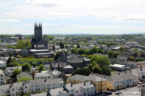 county city kilkenny ireland building church architecture town centre aerial medieval co stmaryscathedral 1200s 13thcentury roundtower éire viewfrom stcanicescathedral republicof blackabbey earlyenglishgothic aimg1914