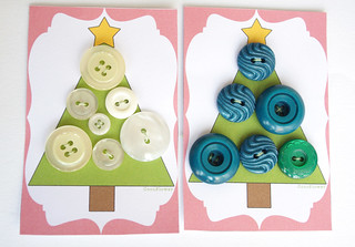 Vintage button on Christmas tree cardboard
